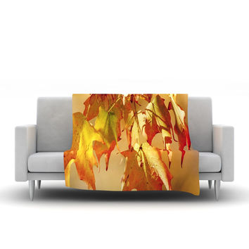 "Angie Turner ""Autumn Leaves"" Vibrant Orange Fleece Throw Blanket"