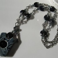 DENIM PORCELIAN GEMSTONE TRINITY SILVER NECKLACE - by GErManoArts on madeit