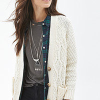 FOREVER 21 Cable Knit Cardigan Cream