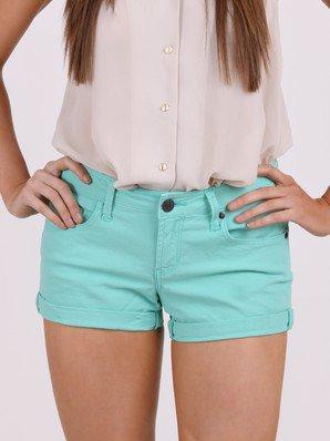 Mint Leaf Rolled Cuff Denim Shorts by Scarlet Boulevard @ FrockCandy.com