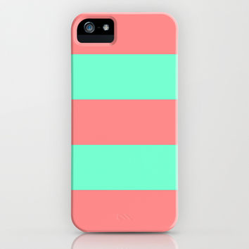 Stripe Coral Red Mint Green iPhone & iPod Case by Beautiful Homes