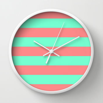 Stripe Coral Red Mint Green Wall Clock by Beautiful Homes