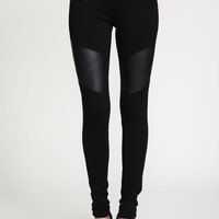 LEATHERETTE MOTO ZIP SKINNY JEGGINGS