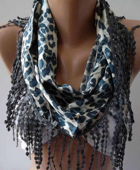 Blue Elegance  Shawl / Scarf with Lacy Edge- Blue -  Leopard-