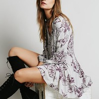Free People Womens Floral Foil Print Swing Tunic
