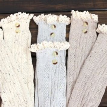 Womens Knee High Boot Socks, Lace Boot Sock, Ivory, Gray, Boot Socks, Knit Boot Cuffs, Button Boot Socks, Lacy Legwarmers, Grace Socks from My fashion creations