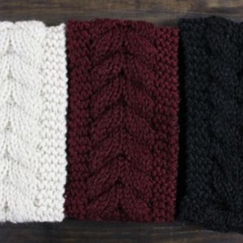 Winter Knitted Headband, Cable Knit Headband, Cozy Head Wrap for her, Warm Hair Accessory, Cable Knit Earwarmer for women from My fashion creations