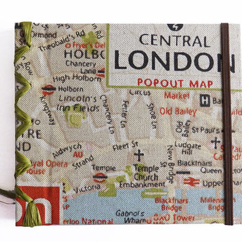 Texile Travel Journal,London Map Holiday Sketchbook, Travel Notebook, Travel Diary,Handmade Notebook with London Map,Reisetagebuch,Traveller