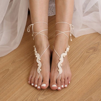 Barefoot Sandals Crochet Pattern DIY Tutorial Bare Foot Sandles Beach Wedding Nude Shoes Anklet Footless Toe Thongs Jewelry PDF
