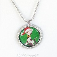 Christmas Dog Necklace, Bottle Cap Necklace, Holiday Necklace