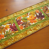 Table Runner Autumn Leaves Handmade Fall Quilted Table Decor