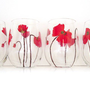 4 Red Poppy Stemless Wine Glasses
