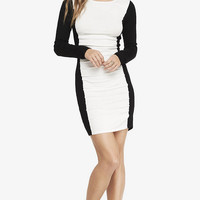 COLOR BLOCK RUCHED SWEATER DRESS from EXPRESS