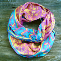 Silk Infinity Scarf Double Loop Scarf Circle Scarf Pink Yellow Blue Turquoise Womens Scarf Fashion Accessory Ready To Ship