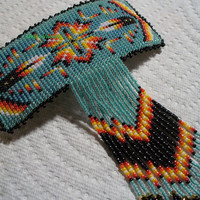 Square stitched beaded Two Feather barrette