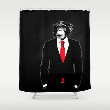 Domesticated Monkey Shower Curtain by Nicklas Gustafsson