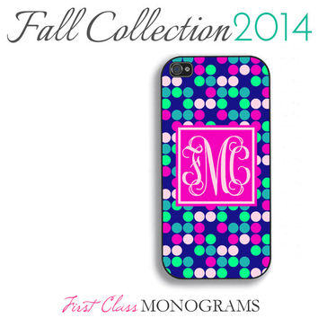 Pink and Navy Blue Dots Pattern Monogram Phone Case Fall Collection - iPhone 4,4s,5,5s,5c; Galaxy S3,S4,S5; iPod 4,5 Limited Edition