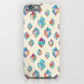 Floating Gems - a pattern of painted polygonal shapes iPhone & iPod Case by micklyn