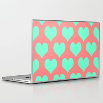 Hearts of Love Coral Mint Laptop & iPad Skin by Beautiful Homes