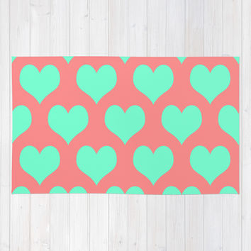 Hearts of Love Coral Mint Area & Throw Rug by Beautiful Homes