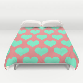 Hearts of Love Coral Mint Duvet Cover by Beautiful Homes