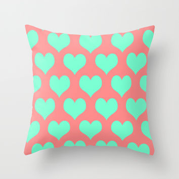 Hearts of Love Coral Mint Throw Pillow by Beautiful Homes