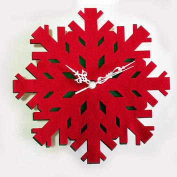 Snowflake Clock - Christmas Wall Clock - Winter Wall Decor - Snowflake Fabric Christmas Gift