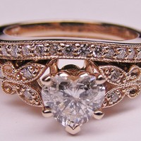 Engagement Ring - Heart Shape Diamond Butterfly Vintage Engagement Ring setting &amp; Matching Wedding Band 0.37 tcw. In Rose Gold - ES334HSBSPG