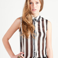 Glamorous Striped Blouse Black White