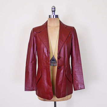 Vintage 70s Leather Jacket Burgundy Red Maroon Leather Blazer Jacket Skinny Fit Fitted 70s Hippie Jacket Hipster Jacket Fight Club S Small