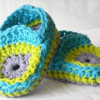 Baby Mocassins Hippie Style 70's Crochet Booties  - Lime Green, Blue and Purple