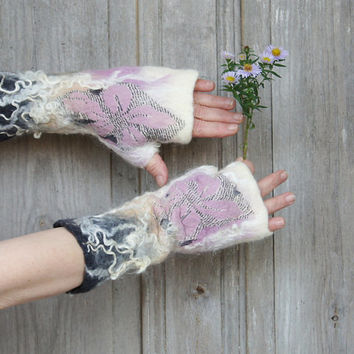 Hand felted mittens in white beige pink and dark gray, decorated with silk fabric and natural wool curls. OOAK