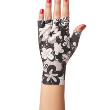 Black Floral SolFingerless Gloves