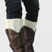 Ivory Boot Cuff - Hand knit ribbed cream boot topper, leg warmer