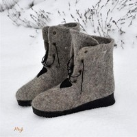 Grey felt boots with rubber soles, eco friendly, natural wool.
