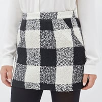 FOREVER 21 Plaid Boucle Mini Skirt Cream/Black