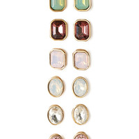 FOREVER 21 Faux Gemstone Stud Set Gold/Multi One