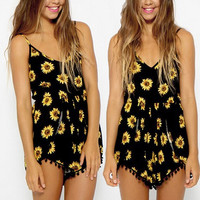New Sexy Vintage Women Straps sunflower Print Jumpsuit Hot Pants Playsuit Shorts