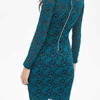 FOREVER 21 Embroidered Floral Lace Dress Black/Teal