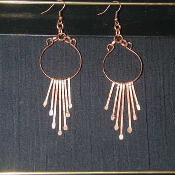 Hand-hammered copper earrings, smooth copper circle with 7 individual hand-hammered copper strands dangling below
