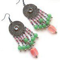 Jade & Cherry Quartz Chandelier Earrings - by ATouchofBling on madeit