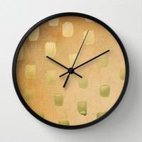 Golden Splotch Haze Wall Clock by Lisa Argyropoulos
