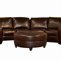 Dark Brown Leather Sofa and Ottoman Set, Sofas and Sets, Living Room Furniture: Nyfurnitureoutlets.com