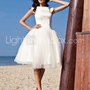 [US$ 146.99] Audrey Hepburn Funny Face Ball Gown Bateau Knee-length Satin Tulle Wedding Dress
