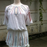 Deconstructed, Hand-Embroidered Cotton T-Shirt with Beading