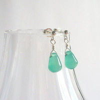 Green Agate Earrings, Wire Wrap Earrings in Sterling Silver