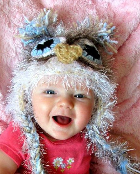 Newborn owl hat, ready to ship, baby owl hat, white fuzzy baby owl hatt, owl photo prop, owl hat with earflaps, boy hat, boy photo prop