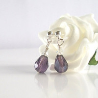 Purple Bridal Earrings, Purple Crystal Earrings in Sterling Silver with Clear Swarovski Crystal