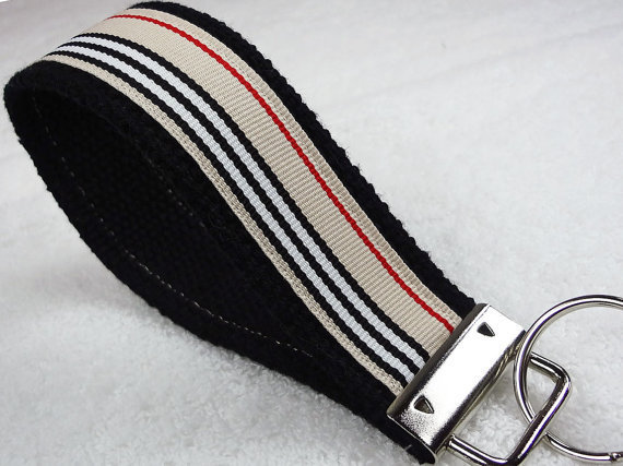 Keyfob Wristlet Keychain Key Ring Keylette - Keys Grosgrain Ribbon Webbing Burberry Stripes Stocking Stuffer - Porte-cls - Ready to ship
