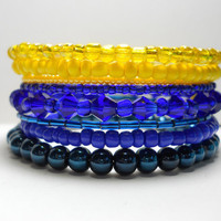 Memory Wire Bracelet Blue Yellow Stacked Beaded Wrap Color Block